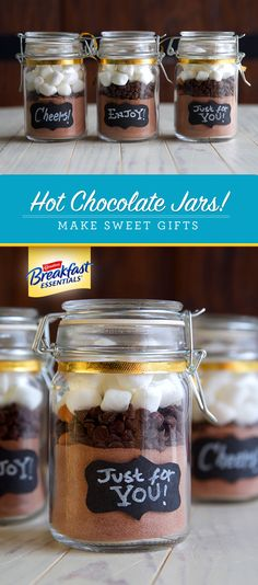 Hot Chocolate Jars make great Valentine's Day gifts, and they're thoughtful and easy to make! Layer dry ingredients for hot cocoa with Carnation Breakfast Essentials® Light Start™ powder drink mix to make it more nutritious. Use Rich Milk Chocolate for classic cocoa or Classic French Vanilla for a twist. Top it off with fun toppings like pieces of peppermint candies, chocolate chips, marshmallows, or spices. Wrap it up with a bow and don't forget the instructions on how to prepare it!