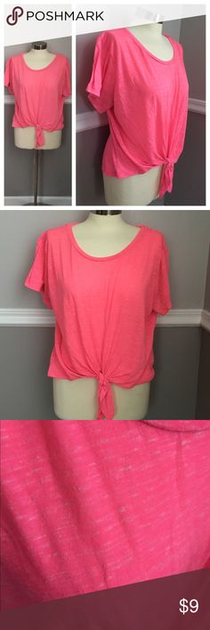 Hot Pink tie front tshirt Pink with some white (heathered look) tshirt with tie at front waist. 91% polyester 9% cotton. BUNDLES 20% OFF 🎉 Mossimo Supply Co Tops