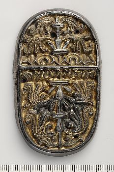 Viking gilded silver brooch made from a fitting with Western European plant ornamentation. Viking Jewelry, Ancient Jewelry, Norse People, Norwegian Vikings, Viking Culture, Ancient Vikings, Iron Age, Fantasy Illustration, Silver Brooch