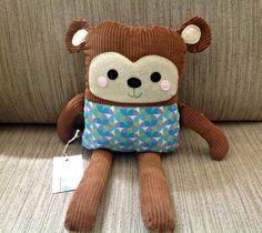 Braune Cord Monkey gefüllte Spielzeug  von Pumpkinpiecreations1