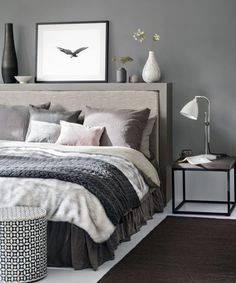 White and grey bedding ideas grey bedroom ideas cosy bedroom ideas for a restful retreat yellow . white and grey bedding ideas Dark Gray Bedroom, Grey Bedroom Design, Grey Bedroom With Pop Of Color, Grey Bedroom Decor, Grey Bedroom Furniture, Grey Room, Trendy Bedroom, Bedroom Themes, Modern Bedroom