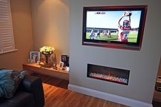 Living Room Tv Wall Shelving Mounted Tv Built Ins Ideas Built In Tv Wall Unit, Wall Units With Fireplace, Tv Built In, Fake Fireplace, Fireplace Built Ins, Living Room With Fireplace, Fireplace Ideas, Electric Fireplace, Feature Wall Living Room