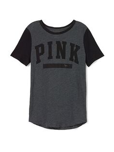 Perfect Legging Tee PINK  JE-320-982 (MV5) Super sporty stripes and a majorly cute fit – play in it, sleep in it, live in it. Must-have tees only from Victoria's Secret PINK.  Relaxed, easy fit Wide neck Stripe sleeves Print graphic on front Imported cotton/polyester