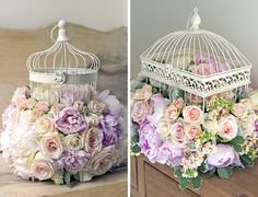 Decorated wedding birdcage