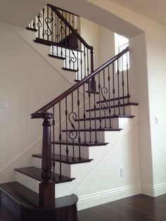 Wraught iron spindle staircase