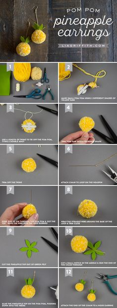 DIY Pom Pom Earrings DIY Pom Pom EarringsDIY Pom Pom EarringsDIY Pom Pom Earrings TutorialPom pom earrings are so fun! This is a step-by-step tutorial so you can DIY your own pom pom earrings! Pom Pom Crafts, Yarn Crafts, Crafts For Teens To Make, Diy Arts And Crafts, Diy Crafts, Craft Tutorials, Craft Projects, Pom Pom Animals, Pineapple Earrings