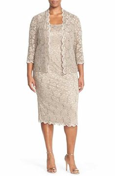 Find Alex Evenings Lace Dress & Jacket (Plus Size) online. Shop the latest collection of Alex Evenings Lace Dress & Jacket (Plus Size) from the popular stores - all in one Mother Of Groom Dresses, Mothers Dresses, Mother Of The Bride Dresses Plus Size, Vestidos Plus Size, Plus Size Dresses, Vetements Paris, Cocktail Dresses With Jackets, Mom Dress, Fancy Dress