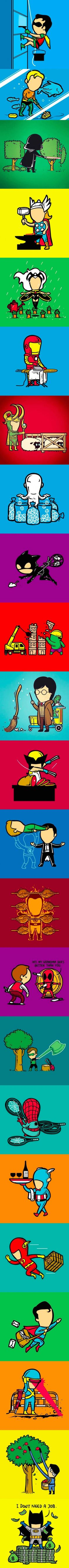 What if superheroes had part time jobs <---- and there's batman
