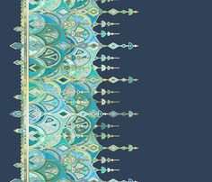 Navy and Emerald Art Deco Double Drop border print fabric by micklyn on Spoonflower - custom fabric