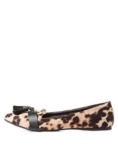 Leopard Print Pointed Toe Tassel Loafers: Charlotte Russe