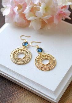 Montana Blue Glass Gold Round Filigree Earrings. Gold Dangle Earrings, Dark Blue Navy Blue Earrings, Boho Earrings, Bohemian Earrings,by LeChaim  https://www.etsy.com/shop/LeChaim