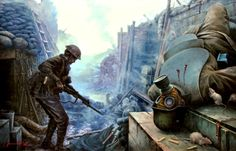 British trench after being assaulted by German Storm Troopers, 1918 ~ art by Yevgeniy Ponomarev.
