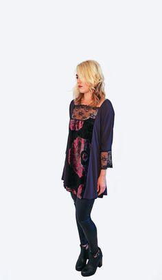 Jersey & Velvet Paneled Tunic With Lace Insets http://www.aladyofthelake.com/shop-aladyofthelake/jersey-velvet-paneled-tunic-with-lace-insets