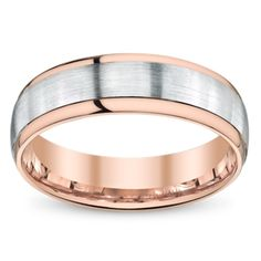 Simon G. 18K Rose and White Gold Comfort Fit Wedding Band