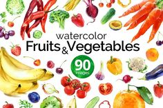 Fruits and vegetables. Watercolor by ognivo on @creativemarket