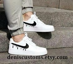 Nike Air Force 1 Low White with Red Candy Drip Design - air force❗️ - Schuhe White Nike Shoes, White Nikes, Zapatillas Nike Air Force, How To Wash Shoes, Sneakers Fashion, Sneakers Nike, Adidas Shoes, Fashion Shoes, Fashion Outfits