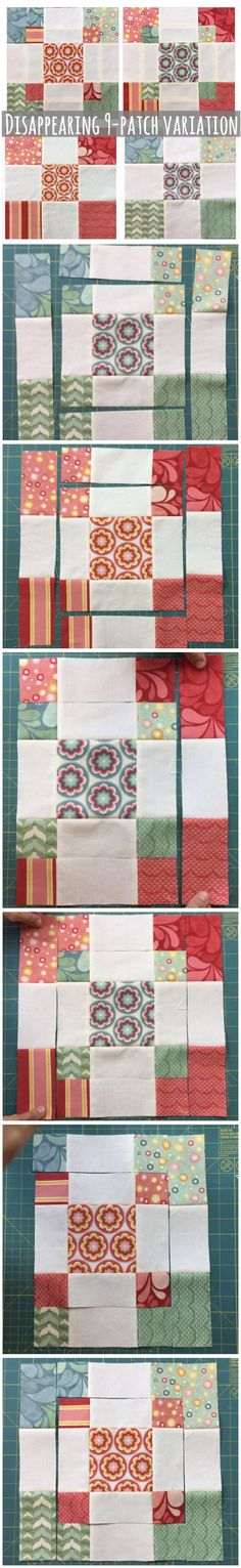 These 2 blocks are made with the video tutorial below. I have seen different kinds of disappearing 9 patch blocks but this variation is not as common
