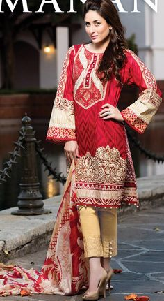 Buy Red Embroidered Cotton Lawn Salwar Kameez by Cresent Lawn Collection 2015.