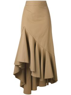 Erika Cavallini asymmetric skirt- would be good for salsaThe statement making huge ruffle.Browse the superb asymmetrical skirts edit at Farfetch. Find ruffled skirts, wrap skirts & more from this luxury asymmetric skirts range. Tan Skirt, Dress Skirt, Ruffle Skirt, Skirt Pants, Hijab Fashion, Fashion Dresses, Draped Skirt, Brown Skirts