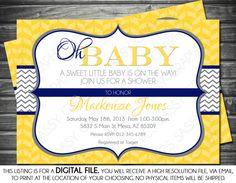 Gender Neutral Baby Shower Invitation - Chevron, Yellow, Navy, Gray, Oh Baby, Printable, Digital