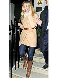 Cinch winter coat with skinny belt