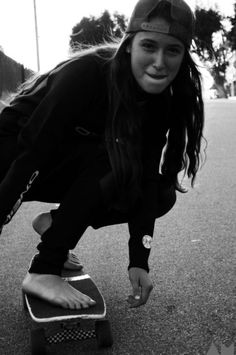 skater girl in a wetsuit - totally fun