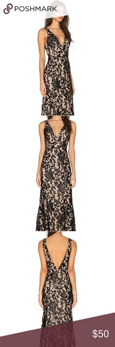 Lovers & Friends Unforgettable Gown Black Lace V Neck Sleeveless Gown, Back Out,  Brand new never worn. Would like to sell asap. Item comes with free mystery gift!! Revolve Dresses Backless