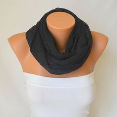 Black cotton lace infinity scarf loop scarf circle scarf by bstyle, $20.00