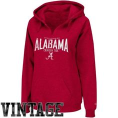 Alabama Ladies Throwback Pullover V-Neck Hooded Sweatshirt available at End Zone Apparel