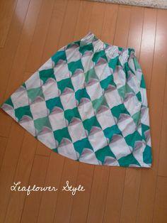 爽やかなギャザースカート♪ | Leaflower LIVING ハンドメイド・ワイヤークラフト教室 毎日着る上品なワンピースやスカートを作ってます