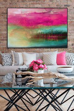 Pintura abstracta pintura azul rosa pintura abstracta