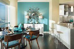 Бирюзовый цвет в интерьере, фото. Cочетание бирюзового цвета в интерьере гостиной, спальни, кухни