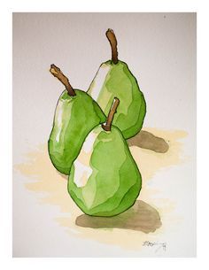 Signed watercolor print three pears x 11 inches watercolor food sketch Watercolor Fruit, Fruit Painting, Watercolour Painting, Watercolors, Food Art Painting, Watercolor Sketch, Art Mural, Wall Art, Art Sketches