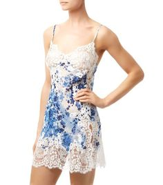 9fa54310768bf MARJOLAINE Star Silk Chemise Blue White  395 IN STORE OR FREE SHIPPING  (Compare other stores at  470.00)