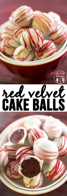 Red Velvet Cake Balls - these delicious little morsels are like bites of red velvet cake rolled up and dipped in white chocolate. Perfect treat for valentine's day. I'd make these and have them with white chocolate and peppermint icing 😍 Cupcakes, Cupcake Cakes, Köstliche Desserts, Dessert Recipes, Famous Desserts, Health Desserts, Cake Recipes, Cake Pop Icing, Red Velvet Cake Roll