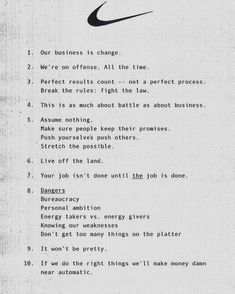 """Internal memo from Nike's first Marketing head entitled ""Principles. You Know Where, Know Who You Are, Brand Manifesto, Learning To Be, Data Science, Copywriting, Sentences, Quotes To Live By, Leadership"