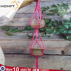 New Model Polyester Small Order Double Macrame Plant Hanger Home Gift Pink  Color Good Nice Handmade Gift Diy Home Gift Woman Gift Window Gift