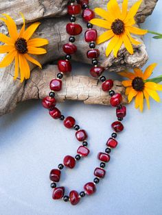 Red Jade Natural Stone Necklace Gemstone Necklace by EvenTheStones, $35.00