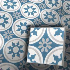 Zementfliesen Radia 153_6 20x20x1,6cm Blue And White Style, Encaustic Tile, Underfloor Heating, Wall And Floor Tiles, Modern Buildings, Cement, Light Colors, Flooring, Home Decor