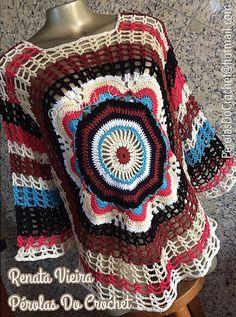 * Pérolas do Crochet: Blusa Mandala em crochet Apostila Katia Missau
