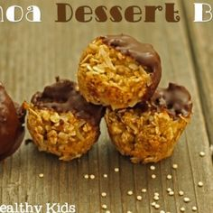 Quinoa Dessert Bites #recipe. Use  dried apples and dried cherries, golden raisins, or dried pineapple to make it #TypeO friendly!