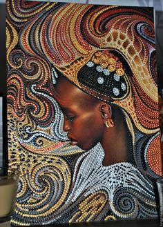 Купить Чернокожый дуэт - коричневый, негритянка, точечная роспись, панно настенное, африканские мотивы