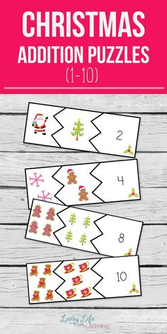 Christmas addition puzzles to have your kids adding to 10 in no time, make math fun with these cool addition puzzles in a fun Christmas theme. #Christmas #kids