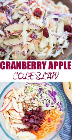 CREAMY APPLE SLAW WITH CRANBERRIES Crunchy apples, Cabbage, carrot, Tart Cranberries in a creamy dressing, this Apple Coleslaw or Apple Slaw is healthy and easy to make. A perfect side dish to serve and can be made in just 10 minutes. Apple Coleslaw, Apple Slaw, Coleslaw With Apples, Apple Cranberry Salad, Chick Fil A Coleslaw Recipe, Yummy Coleslaw Recipe, Cranberry Salad Recipes, Carrot Slaw, Vegetarian Recipes
