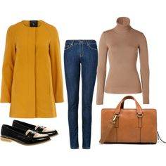 """""""60's yellow coat"""" by labruja on Polyvore"""