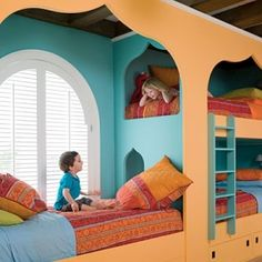 bunk beds with another bed . :) plus peep holes . too cute ! by OwlCitizenSkySailor