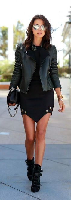 Black Leather Jacket With Modern Shorts and Handbag by VivaLuxury Fashion