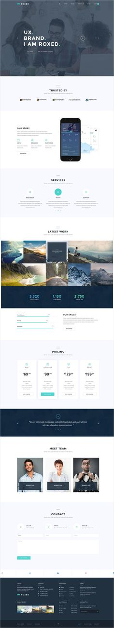 Roxed is single page clean and modern design #PSD #template for business, #corporate or personal website with 3 unique homepage layouts download now➩ https://themeforest.net/item/roxed-landing-page-psd-template/17460331?ref=Datasata