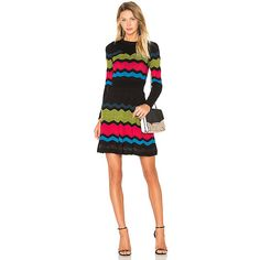 M Missoni Zig Zag Block Sweater Dress (€640) ❤ liked on Polyvore featuring dresses, colorblock dress, colour block dress, m missoni dress, color block sweater dress and viscose dress