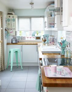 Pastel palette kitchen look. As seen in Style at Home magazine